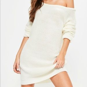 Off Shoulder Knit Sweater Dress